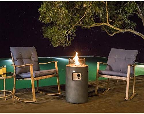 COSIEST 4-Piece Propane Gas Fire Pit Outdoor Rocking Bistro Chair Set