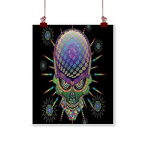 (Psychedelic Simulation Oil Painting Digital Mexican Sugar Skull Festive Ceremony Halloween Ornate Effects Design Decorative Painted Sofa Background Wall 20