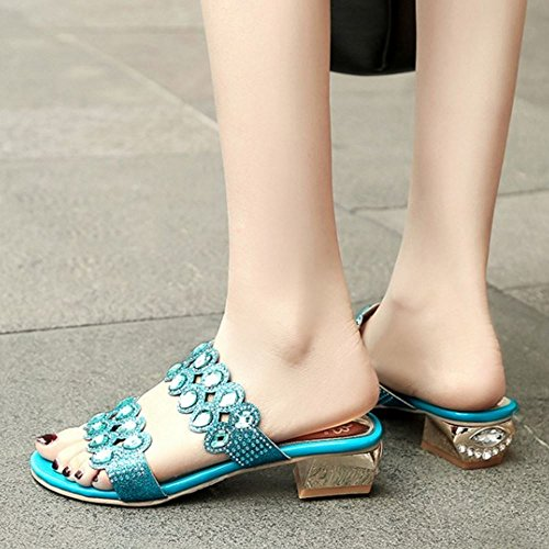 Women Summer Zanpa blue Mules Sandals 1 RwC7dqaC