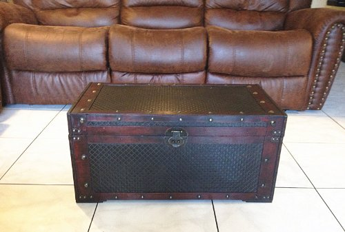 Faux Leather Decorative Wooden Storage Trunk (HF 036-B)