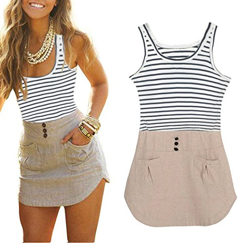 Mansy Women's Ladies Chiffon Long Top Blouse Summer Womens Sleeveless Mini Dress