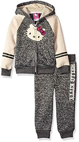Hello Kitty Toddler Girls 2 Piece Hooded Fleece Active Set, Charcoal/Cream, 4T ()