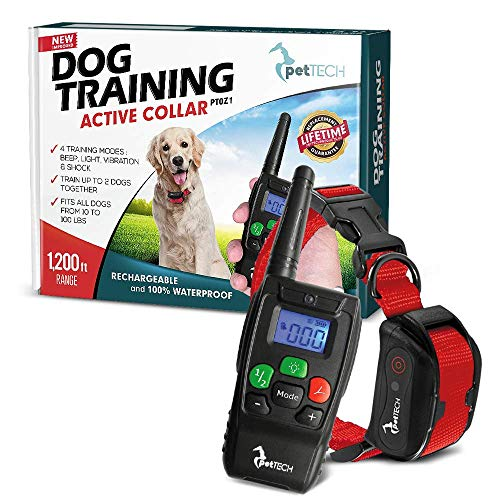 Pet Union PT0Z1 Premium Dog Training Shock Collar, Fully Waterproof, 1200ft Range (Red) from Pet Union