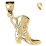 14K Yellow Gold 20mm 3D Cowboy Boot Charm w/ Lobster Clasp