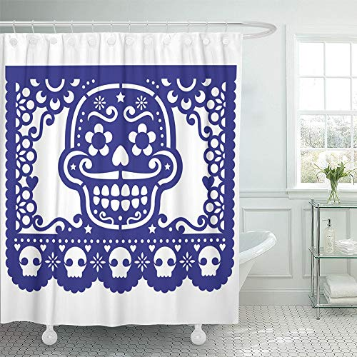 Emvency Shower Curtain Waterproof Polyester Decorative Collection 66 x 72 inches Mexican Sugar Skull Papel Picado Halloween Dia De Los Muertos Day The Deadcut Set Hooks Bathroom