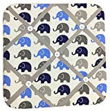 quilted picture board - Bacati Elephants Fabric Memory/Memo Photo Bulletin Board, Blue/Grey