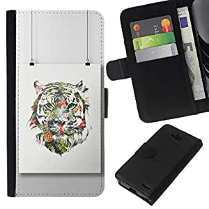 KLONGSHOP // Tirón de la caja Cartera de cuero con ranuras para tarjetas - Pintura colorida Art Dibujo - LG OPTIMUS L90 //