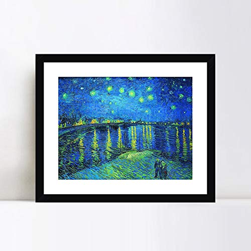 Framed Rhone Art (INVIN ART Framed Canvas Giclee Print Art Starry Night Over The Rhone by Vincent Van Gogh Wall Art Living Room Home Office Decorations(Black Frame with Mat,24