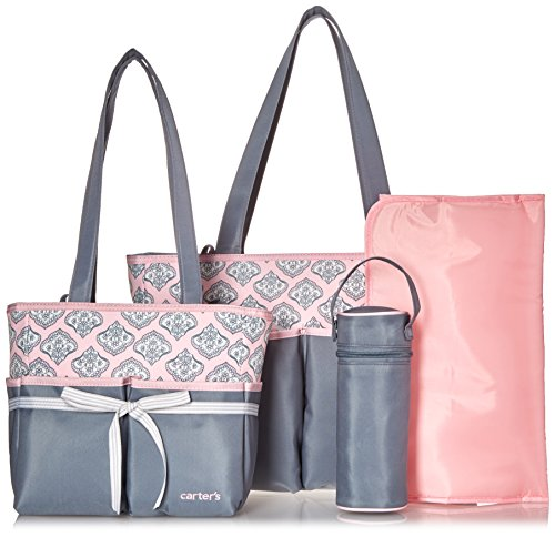 Baby Diaper Carters (Carter's Paisley Print 5 Piece Baby Diaper Bag Set for Women - Large, Cute Totes Great for Newborn and Toddler Girls - Wipeable, Roomy, Zip Tote Bag - Grey/Pink)