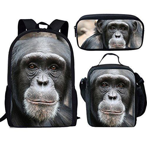 - Showudesigns 3 Pieces Set School Backpack Lunch Bag Pencil Holder for Kids Monkey Design