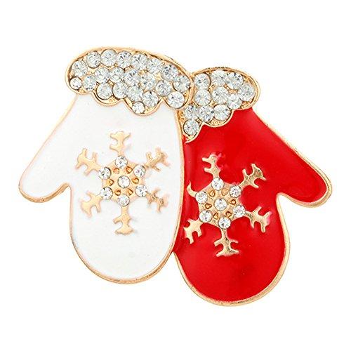 Christmas Pins Jewelry (Potato001 Fashion Christmas Gloves/Hat Shape Brooch Pin Women Dress Bag Scarf Jewelry (Christmas Gloves))
