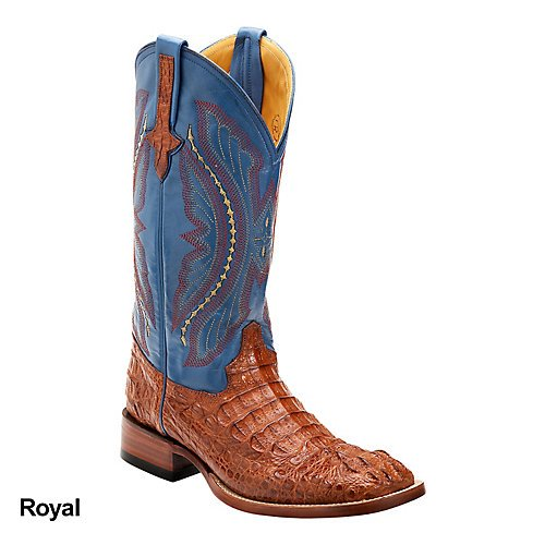 Ferrini Mens Caiman Croc Sq Toe Royal Boots 9D (Caiman Croc)