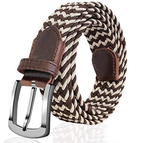 Fairwin Elastic Braided Belt,1.3'' Wide Stretch Belt, New Buckle Fabric Woven Men/Women Novelty Belt