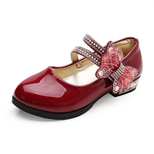 feilongzaitianba Bow Low-Heeled Shoes Soft Bottom Black Shoes Girls Leather Shoes Kids Wine Red 12