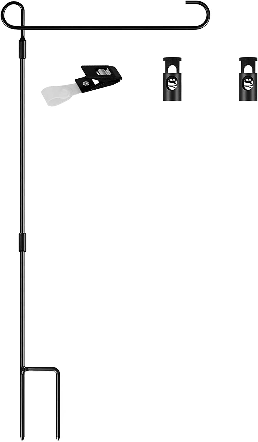 Coindivi Garden Flag Holder Stand, Yard Flagpole, Hitch Flag Pole for Outdoor The American Flag, House, Lawn, Stainless Steel with Powder-Coated, 1 Anti-Wind Clip and 2 Spring Stoppers 34.3'' x 15''