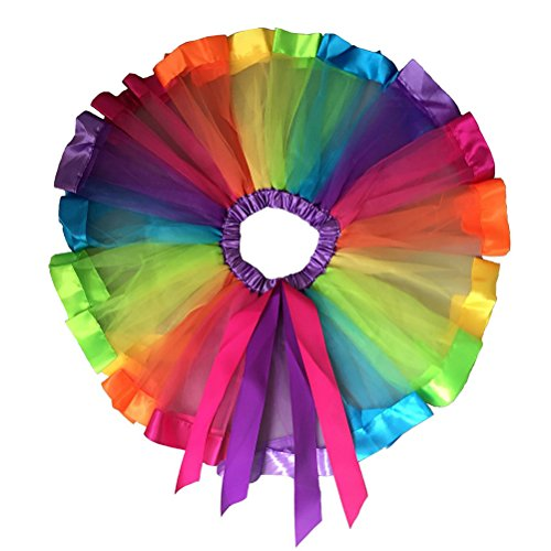 Ribbon Dance Costume (BESTOYARD Rainbow Tutu Skirt Girls Layered Rainbow Ribbon Tutu Skirt Dance Dress Ruffle Tiered - Size S)