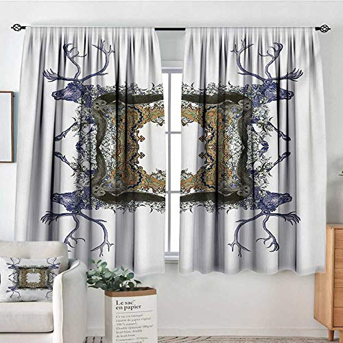 Mozenou Victorian Patterned Drape for Glass Door Frame with Two Girl Flying to Two Owl Two Hunter Animal Wildlife Jungle Blackout Draperies for Bedroom 72
