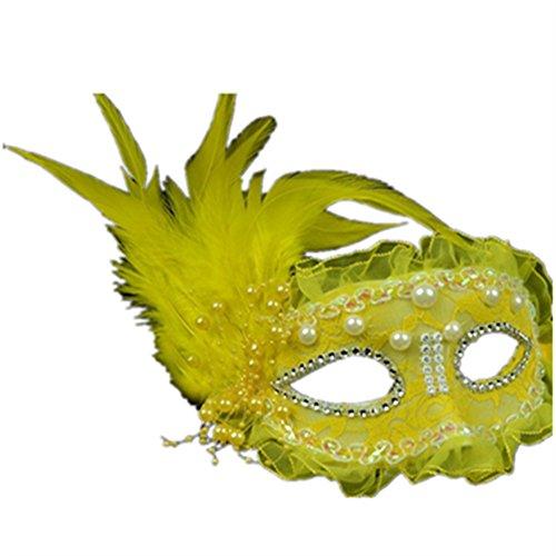 Sweenaly Lace mask Masquerade Mask Party Mask Halloween Mask (Yellow)