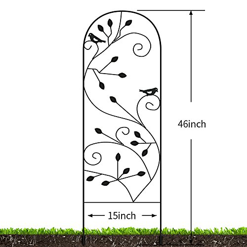 Amagabeli Garden Trellis for Climbing Plants 46'' x 15'' Rustproof Black Sturdy Iron Potted Support Vines Vegetable Flower Patio Metal Wire Lattices Grid Trellises for Ivy Roses Grape Cucumber Clematis by AMAGABELI GARDEN & HOME (Image #1)