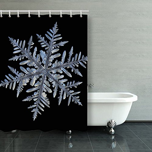 Emvency Shower Curtain Waterproof Snowflake Macro Photo Of Real Snow Crystal Captured Glass Large Dendrite Snowflake With Plastic Hooks Polyester Fabric Adjustable Curtain For Bathroom (Curtain Paisley Suede)