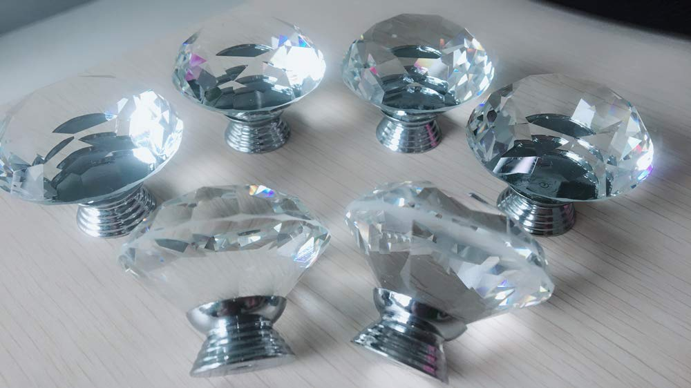 HiMo 6PCs Diameter 40mm Clear Crystal Glass Cabinet Knob Cupboard Drawer Pull Handle 6Pcs 40MM HiMo G2 Come with 3 Kinds of Screws