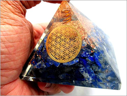 Jet Lapis Flower of Life Orgone Pyramid Ions Generator 2.5 inch Natural Charged EMF Harmonizer Energy Chakra Blancing Meditation Vastu Healing Gemstone Jet Crystal Therapy Booklet Hand Carved (Pyramid Tower)
