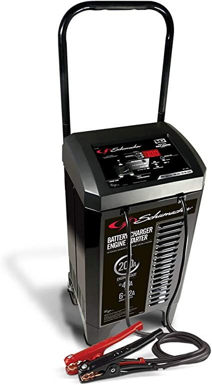 Schumacher SC1400 6//12V Wheeled Fully Automatic Battery Charger and 200//300A Engine Starter