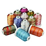 Simthread Multi-Colored Polyester Embroidery Machine Thread Set, 12 Colors/kit, 1000M/spool for Home Embroidery