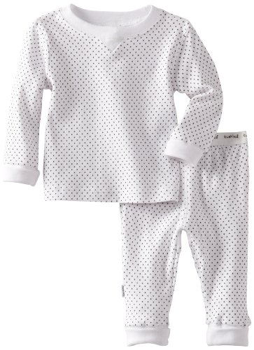 Kushies UnisexBaby Everyday Mocha Layette 2 Piece Set, White Dots, 24 Months - Dot Layette Set