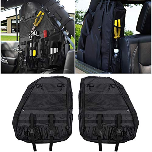 - 2 PCS Roll Cage Multi-Pockets Saddlebag Roll Bar Storage Bags Tool Kit Holder Cargo Organizer Bag for 2018 2019 Jeep Wrangler JL