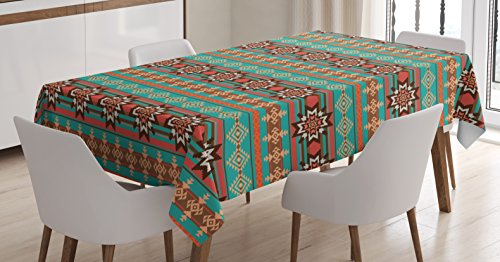 Lunarable Aztec Tablecloth, Horizontal Borders with Abstract Snowflake Motifs Native Folkloric American Art Theme, Rectangular Table Cover for Dining Room Kitchen Decor, 60