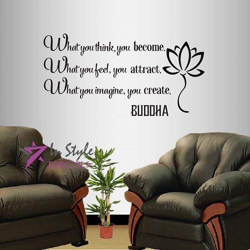 Wall Vinyl Decal Home Decor Art Sticker Buddha Quote What You Think You Become What You Feel You Attract... Yoga Living Room Bedroom Room Removable Stylish Mural Unique Design 592