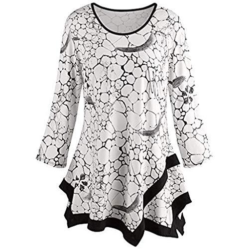 - Sunhusing Women's Round Neck Print Long Sleeve Shirt Layered Frilled Hem Pullover Top Tee White