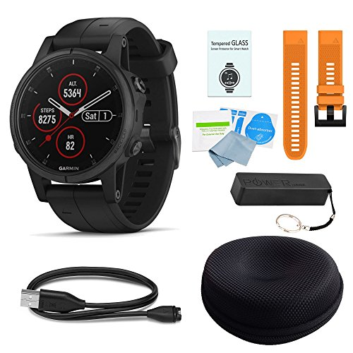 Cheap WhoIsCamera Garmin Fenix 5 Plus Sapphire Black w/Black Band & Orange Band Deluxe Bundle