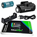EdisonBright Olight PL1-II Valkyrie 450 lumen LED dedicated pistol light with Olight RCR123A lithium-ion battery, RCR123 battery and charger bundle