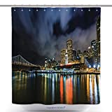 What Are the Measurements of a California King Bed vanfan-Durable Shower Curtains Ferry Building And Bay Bridge Illuminated At Night In San Francisco California Polyester Bathroom Shower Curtain Set With Hooks(70 x 78 inches)