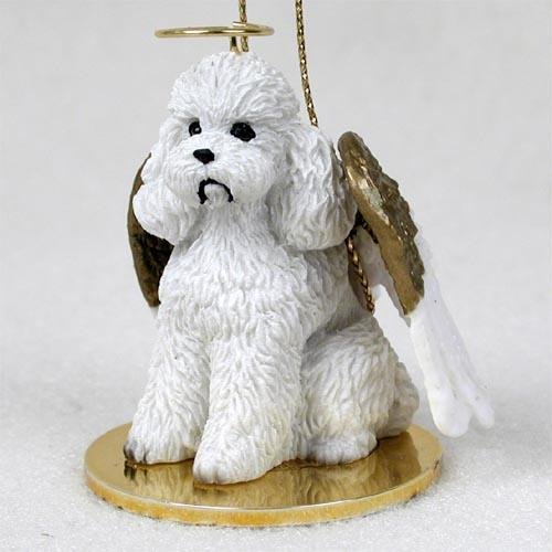 1 X Poodle, White, Sport Cut Tiny Ones Dog Angels (2 in) - Tiny One Dog Ornament
