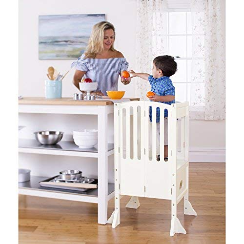 Guidecraft Contemporary Kitchen Helper Stool - Ivory W/Keeper and Non-Slip Mat: Adjustable Height, Wooden Foldable Cooking Learning Step Stool for Kids, Children Safety Tower