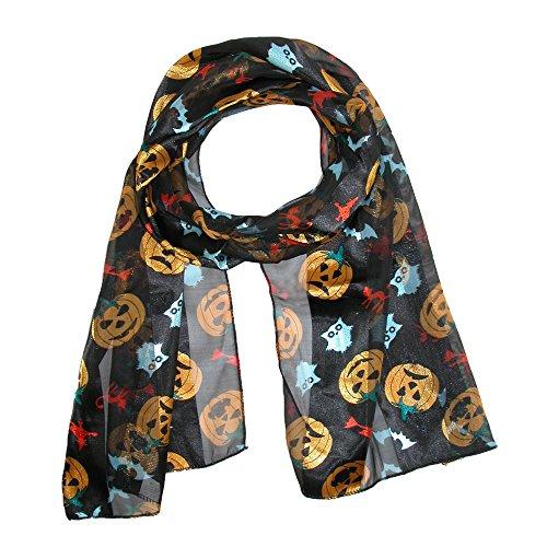 Women's Halloween Pumpkin Scarf, Black