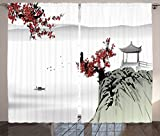 Ambesonne Asian Decor Curtains by, River Scenery with Cherry Blossoms and Boat Cultural Hints Mystical View Artsy Work, Living Room Bedroom Decor, 2 Panel Set, 108 W X 84 L Inches, Ruby Light Grey