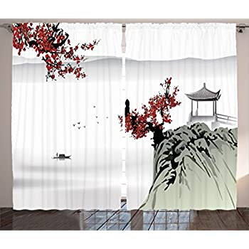 Ambesonne Asian Curtains, River Scenery with Cherry Blossoms Boat Cultural Hints Mystical View, Living Room Bedroom Window Drapes 2 Panel Set, 108