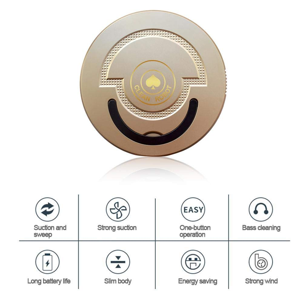 Robot Vacuum Cleaner, Sweeping Robot Strong Suction and Super Quiet, Automatic Intelligent Cleaner Sweep Robotic Machine Home Cleaning Tool Cleans Hard Floors to Medium-Pile Carpets