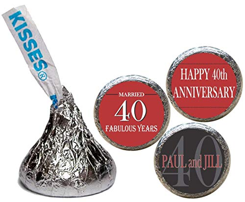 Anniversary Stickers for the Bottom of Chocolate Kisses, Personalized (Set of ()
