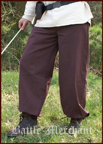 Pantalon médiéval Ceinture de pantalon, brun foncé de Coton - LARP Moyen âge Viking - 40