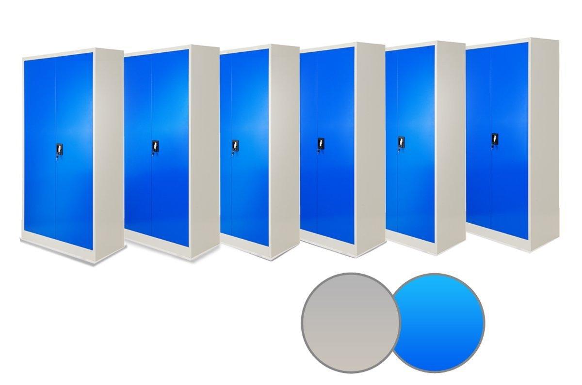 6er Set Aktenschrank 195 cm Metallschrank Büroschrank Werkzeugschrank Universalschrank Flügeltürschrank Stahlschrank Stahlblech Lagerschrank Ideal für Büro Verschließbar NEU (blau/grau)