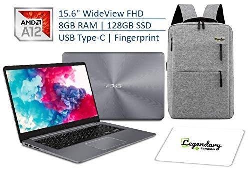 ASUS VivoBook 15.6 Inch Thin and Lightweight FHD WideView NanoEdge Laptop, AMD A12-9720P Quad-Core Processor, 8GB RAM, 128GB SSD, USB Type-C, Fingerprint Reader W/Legendary Backpack & Mouse Pad Bundle (Asus Tablet For Headphones)