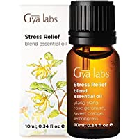 Gya Labs Stress Relief Essential Oil Blend - Rose Geranium & Ylang Ylang for Stress Relief & Calming Relaxation (10ml…