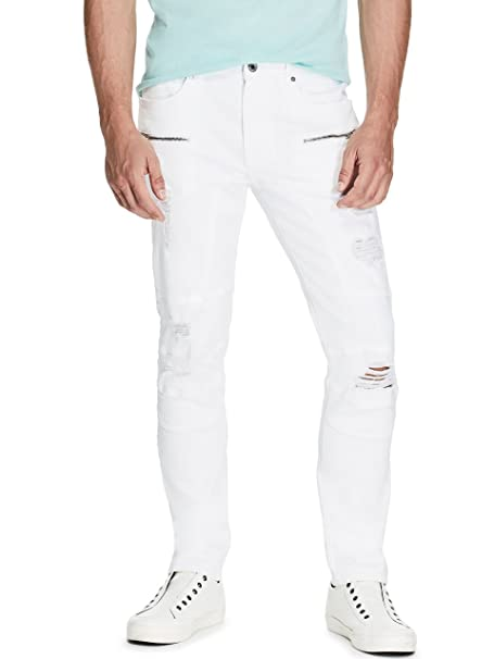 Amazon.com: Guess de los hombres Slim Tapered Moto jeans ...
