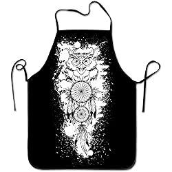 Sandayun88x Apron Dream Catcher White Owl Aprons Bib Adult Lace Adjustable Polyester Chef Cooking Long Full Kitchen Aprons For Outdoor Restaurant Cleaning Serving Crafting Gardening Baking Bbq Grill
