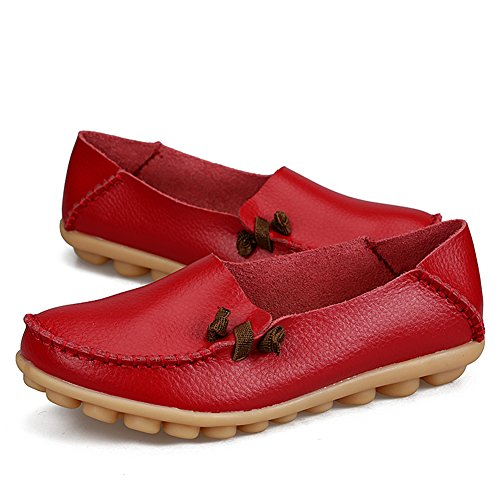 Women's Fashion Genuine Leather Loafers Casual Slip-On Soft-soled Flat Shoes For Driving Shopping Red sXYihfrqqr